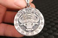 used 100% fine 925 Silver Handmade cow ox Statue Pendant Netsuke gift