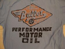 Lucky Brand Bullet Performance Motor Oil w/ Buttons Light Blue T Shirt L