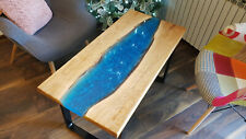 Live Edge Coffe Table with Epoxy River + Natural Oak 100x50x50cm, Thickness:35mm
