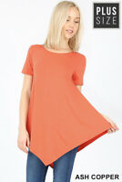 New! ZENANA plus size orange short sleeve boat neck triangle hem knit top