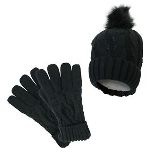 Ladies Warm Winter Acrylic Cable Knit Heat Machine Thermal Hat/Gloves Set BLACK
