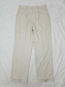 NIKE DriFit Golf Mens Beige Tan Pleated Cuffed Athletic Golf Pants 34x32
