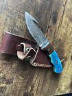 Handmade Damascus Steel Knife With Leather Sheath