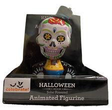 Halloween Solar Powered Animated Skull Bobble Head Figure Day of The Dead