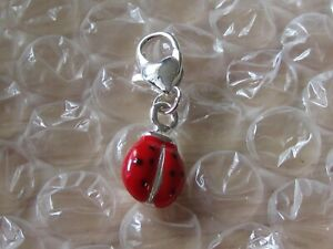 LADYBIRD ENAMEL CHARM  CLIP-ON  YOUR BRACELET/NECKLACE  FREE GIFT BOXED