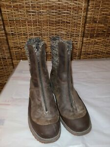 MERRELL WOMEN'S BLACK LEATHER SELECT DRY ZIP ANKLE BOOTS SIZE 10 BROWN & BEIGE