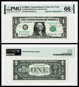 REPEATER SERIAL # 6125 6125  2003A $1  FR Note ~ PMG GEM UNC 66 EPQ