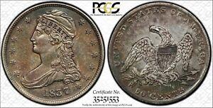 1837 REEDED EDGE HALF DOLLAR GR-6 PCGS XF45 ABSOLUTELY GORGEOUS LOOKS AU/BU