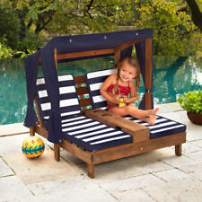 Kidkraft Double Chaise Lounge With Cupholder - Navy and White Stripes (00535)