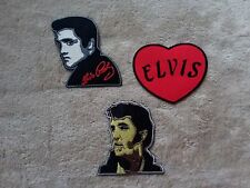 SET OF THREE HEAVY METAL PUNK ROCK MUSIC SEW ON / IRON ON PATCHES:- ELVIS