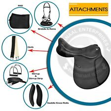 Synthetic Suede Jumping English Horse Saddle Bridle,Reins,Pad,Girth,Size 14 to18