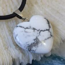 Gemstone White Howlite Heart Necklace Genuine Leather Calming, Aware, Spiritual