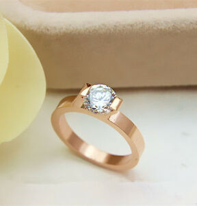 Solid 14K Rose Gold  1CT Moissanite Diamond Women Wedding Ring With Certificate