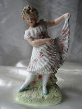 Vintage Style Fine Porcelain Pretty Girl In Floral Flower Dress Figure Ornament