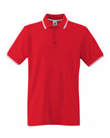 Fruit Of The Loom 63032 Men's Tipped Premium Cotton Polo T Shirt Size S-3XL