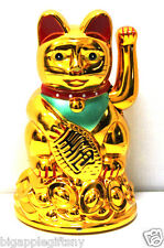 "Feng Shui GOLD BECKONING CAT Wealth Lucky Waving Kitty Maneki Neko 4"" Tall"