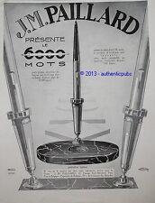 PUBLICITE DE 1929  J.M PAILLARD PORTE PLUME GRANDEUR NATURE STYLO FRENCH AD