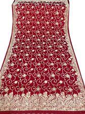 Om Vintage Dupatta Bridal Art Silk Zardozi Work Maroon Scarves Hijab W-1140
