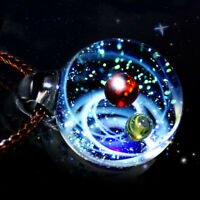 Charm Galaxy Starry Sky Pendants Necklace Double-sided Glass Ball Jewelry