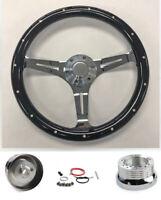 "70-73 Blazer C10 C20 C30 Pick Up 14"" Black Wood Steering Wheel on Chrome Spokes"