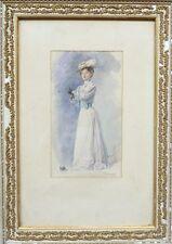Belle Aquarelle 1900 de Léon Eugène Lambert - Femme - Belle Époque - Encadrée