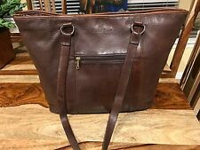 XL Cole Haan Tote Brown Distress Leather Handbag Purse