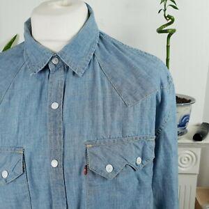 Mens levis strauss denim shirt size XXL blue long sleeved slim fit buttons logo