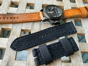 26 mm Shark skin, handmade ,leather watch strap  .135/80 mm .For Panerai .