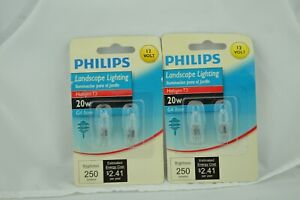 Lot of 4 Philips Landscape & Cabinet Halogen T3 20W 12 Volt G4 Base Bulbs