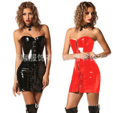 Faux Leather Burlesque Corset Basque Cincher Lingerie Bustier Shaper Maxi Dress
