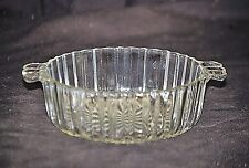 Old Vintage Clear Pressed Glass Candy Nut Dish w Tab Handles & Ribbed Sides MCM