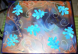 Original Painting on Canvas- Blue Fall Leaves - 16''x20''