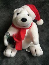 1452-Peluche Ours polaire assis bonnet écharpe rouge bouteille-COCA COLA-Neuf