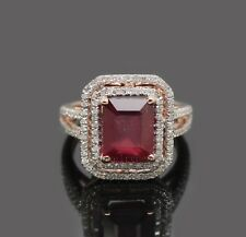 Emerald 8x10mm Solid 14k Rose Gold Natural Diamond Wedding Blood Red Ruby Ring