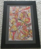 MYSTERY ARTIST ABSTRACT EXPRESSIONIST PAINTING VINTAGE FIGURAL MODERNISM 1960'S