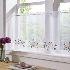 rose violet fleurs brodé 150x45.7cm – 150 x 45cm cuisine café panneau-rideau