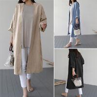 Mode Femme Cardigan 100% coton Manche Longue Casual en vrac Confortable Manteau