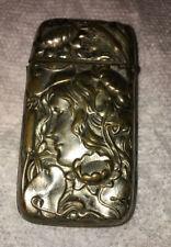 ART NOUVEAU Lady Figural Silver Plate MATCH SAFE CASE Water Lilies Flowers