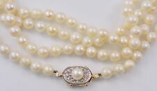 """Vintage Opera Length 7mm Pearl 60"""" Necklace w/ 14K Gold Diamond Clasp (#4069)"""