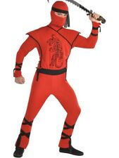 Adults Red Tiger Ninja Fancy Dress Costume Japanese Warrior Assassin Mens