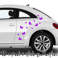 Butterfly Car Stickers in PURPLE, 13 Peel & Stick Butterflies, vinyl decal