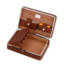 COHIBA Leather Cedar Wooden Travel Cigar Case Humidor w/ Lighter Cutter 4 Counts