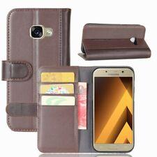 Wallet Case Echt Leder Innenfach Etui Tasche Braun für Samsung Galaxy A5 (2017)