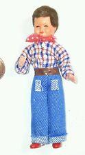 New Caco #45 Boy w/Brown Hair Plaid Shirt & Blue Jeans 1:12 Dollhouse Miniature