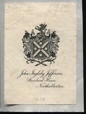 More details for 19th-20th century ex libris book plate - john ingleby jefferson - northallerton