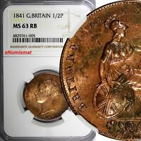 Great Britain Victoria Copper 1841 1/2 Half Penny NGC MS63 RB Early Date KM# 726