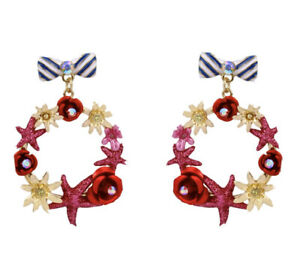 Disney Park Minnie Mouse Bow and Wreath Earrings by Betsey Johnson New Authentic