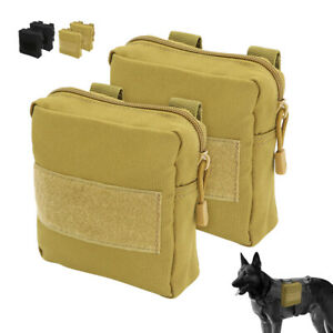 POLICE Tactical Dog Harness Bag Outdoor Training Vest Detachable Side Pouch Bags