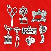 Tibetan Silver Sewing Theme Charm Pendant Bead Finding Jewellery Making