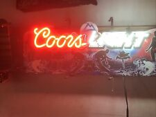Rare Coors Light Neon Sign With Surfers 27� X 8�
